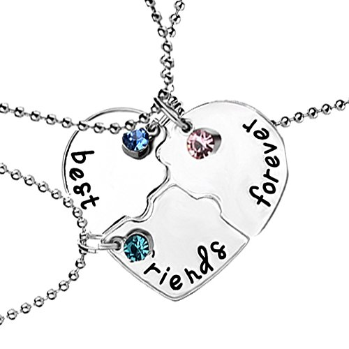 Best Friend Forever BFF Friendship Puzzle Heart Pendant Necklace 3 Pieces ()