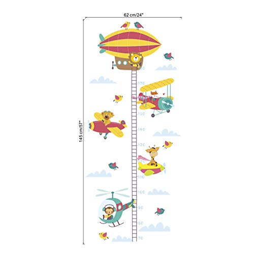 linshel Personality Wall Sticker Cute Giraffe Monkey Lion Airplane Growth Chart Wall Stickers for Kids Rooms Home Decor Cartoon Animal Height Measure Wall ()