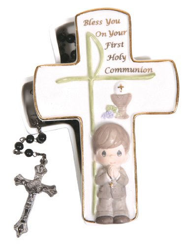 Precious Moments Communion Boy Covered Box with Rosary Figurine, Set of 2 (Covered Box Moments Precious)