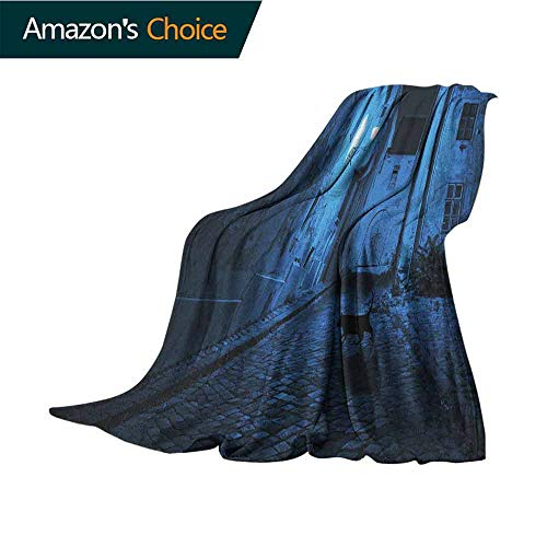 Urban Throw Blanket,Black Cat Crossing Deserted Street at Night Mysterious Old European Town Alley Couch/Bed,Super Soft and Warm,Durable Throw Blanket,60