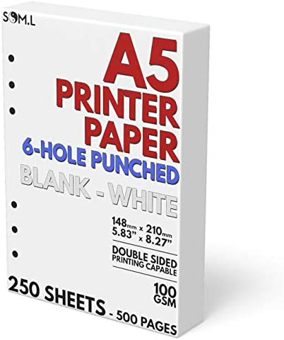 A5 Blank Paper 6-Hole Punched, 250 Sheets (500 Pages), 100 GSM, Printer Paper 148mm x 210mm (5.83 in. x 8.27 in.)