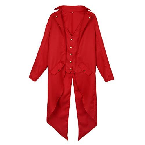 Tailcoat Longue carnaval Rouge Gothique Veste Pour Baoblaze Manteau Fashion Costume Jacket Steampunk Homme D'halloween Coat xqSww0OtT