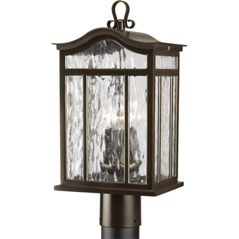 Progress Lighting P5468-108 3-Light Post Lantern with Unique Arched Roof and Top Ribbon Scrolled Loops with Arching Arms, Oil Rubbed Bronze (Meadowlark Three Light)