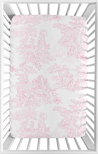 Sweet JoJo Designs Pink and White Baby Girl Fitted Mini Portable Crib Sheet for French Toile Collection - for Mini Crib or Pack and Play ONLY