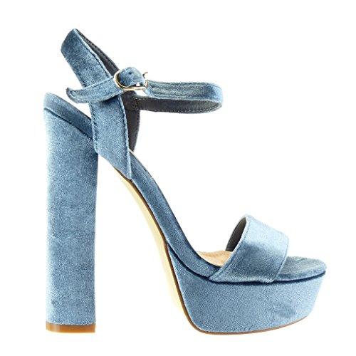 Angkorly - Chaussure Mode Sandale Escarpin plateforme femme lanière Talon haut bloc 15 CM - Bleu