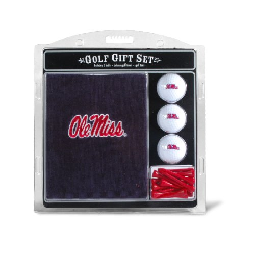 NCAA Ole Miss Rebels Embroidered Golf Towel, 3 Golf Ball, and Golf Tee (Rebels Ncaa Golf Ball)
