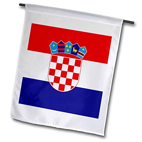 3dRose fl_158301_1 Flag of Croatia-Croat Red White Blue Stripes-Croatian Coat of Arms Shield-Europe Country World Garden Flag, 12 by 18-Inch ()