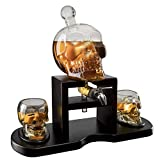 Skull Whiskey Decanter Set With 2 Skull Glasses and mahogany Wooden Base The Wine Savant With Spigot