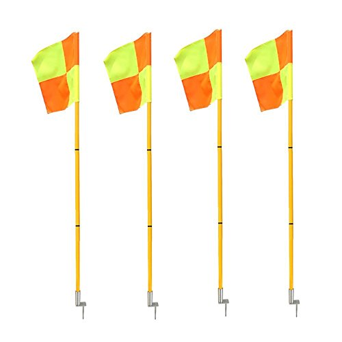 Firelong Professional Football Soccer Corner Flags Portable Lightweight Sport Field Flags with Spring Base - Set of 4