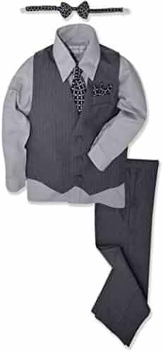 JL40 Pinstripe Boys Formal Dresswear Vest Set (18, Gray/Silver)