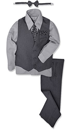 JL40 Pinstripe Boys Formal Dresswear Vest Set (14, (Boys Gray Vest)