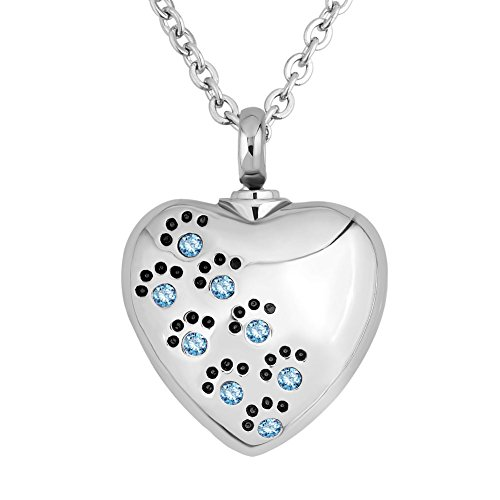 Third Time Charm Light Blue Pet Paw Print Heart Urn Necklace for Ashes After Cremation Pet Memorial Pendant