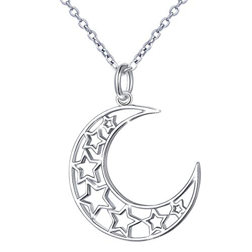 S925 Sterling Silver Stars Crescent Moon Pendant Necklace for Women Girl 18