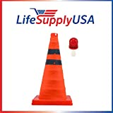 5PK Collapsible 18'' inch Traffic Cone with LED Light Lamp Topper Reflective Multi Purpose Pop up Road Safety Extendable