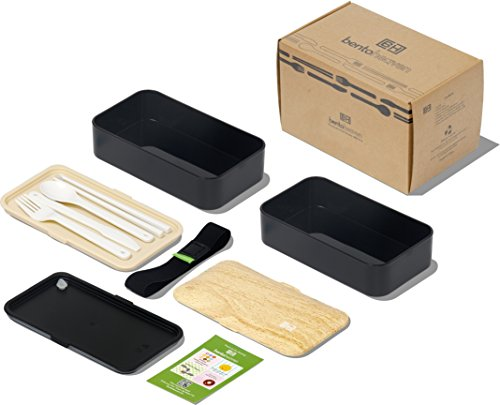 bentoheaven leakproof bento box with fun lunch notes cutlery chopsticks b. Black Bedroom Furniture Sets. Home Design Ideas