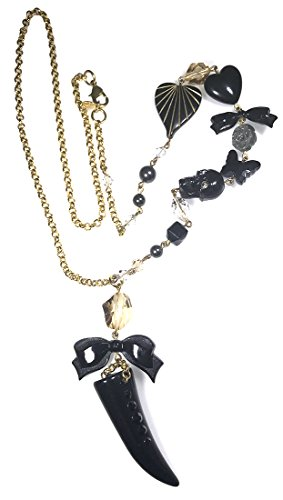 Tarantino Necklace Black Tarina (Tarina Tarantino Black Lucite Tusk Skull Bow Swarovski Crystal Charm Necklace)
