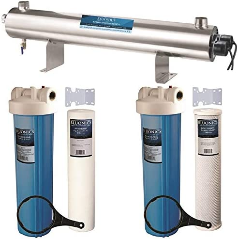 Bluonics 110W UV Ultraviolet + Sediment & Carbon Well Water Filter Purifier System 24 GPM UV Sterilizer with Big Blue Size 4.5