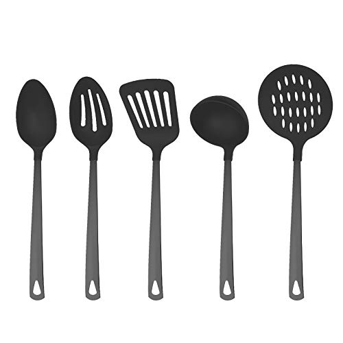 Country Kitchen 5 Piece Black Nylon Cooking Utensil Set on a Ring with Black Gun Metal Stainless Steel Handles