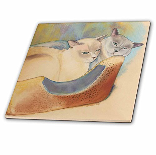 3dRose ct_23299_2 Cats Two Cats Tonkinese Cats Cuddling Pastel Painting Pet Portrait Cats Cat Bed Ceramic Tile, 6-Inch