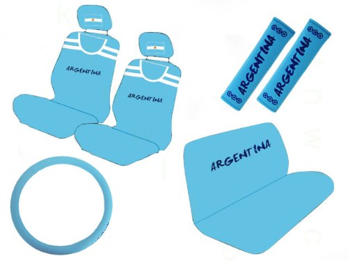 or Gift Set - Argentina National Football Team - A Set of 2 Seat Covers, 1 Rear Bench Cover, 1 Steering Wheel, and A Set of 2 Shoulder Belt Pads (Football America Shoulder Pads)
