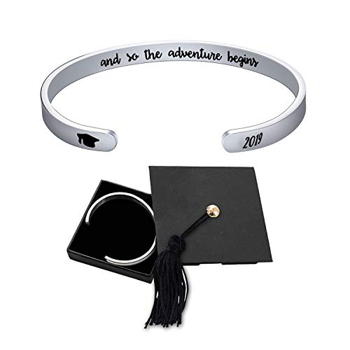 Jdesign Womens Grad Cap 2019 Bangle Cuff Bracelet Bangle Engraved Mantra Quote and so The Adventure Begins Inspirational Gifts Graduation Gifts Bracelet for Women -