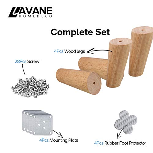 12 inch / 30cm Wooden Furniture Legs, La Vane Set of 4 Solid Wood Oblique Tapered Furniture Replacement Feet with Mounting Plate & Screws for Sofa TV Cabinet Bed Dining Table