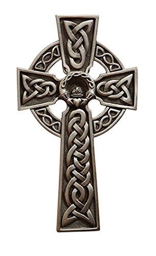 James Brennan Irish Celtic Claddagh Wall Cross in Antique Pewter Finish (8 - Wedding Catholic Irish
