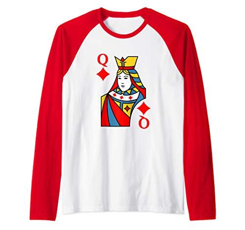 Queen of Diamonds Playing Card Costume Halloween Deck Cards  Raglan Baseball Tee -