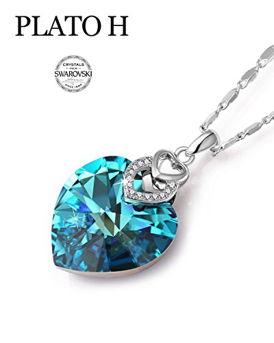 """PLATO H Swarovski Element Necklace Color Changing Heart of Ocean Blue Crystal Love Pendant Necklace for Women, Birthday Birthstone Jewelry Gifts for Girl, Ocean Blue, 20"""""""