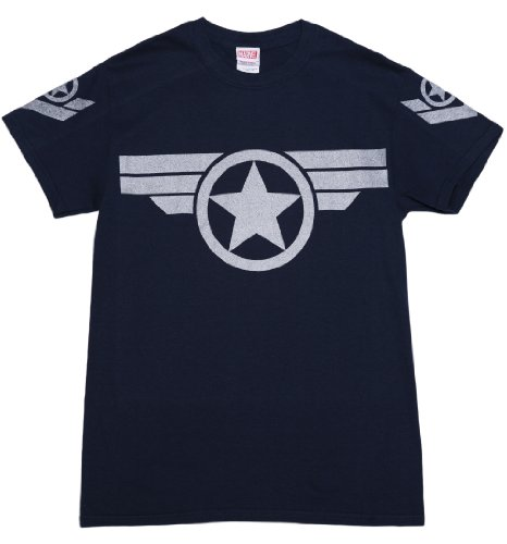 [Mens Navy Metallic Silver Print Steve Rogers Super Soldier Captain America Uniform Marvel T Shirt,] (Captain America Uniform)