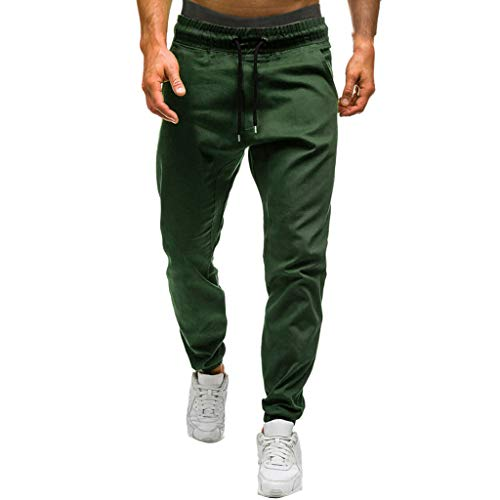 Men's Cargo Pants Slim Fit Casual Jogger Pant Chino Trousers Chino Jogger Pants Twill Stretch Drawstring Sweatpants Army Green ()