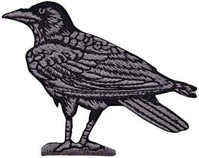 Embroidered Iron On Patches - SET OF 2 Raven American Black Crow