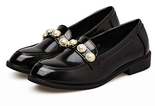 up Talons Simples Round Femmes Lace Mocassins Femme Pearl Bas À Nouveau Pour Head Chaussures Black Étudiants qOFxAA