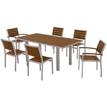 polywood pws117111te 7piece dining set euro textured silver
