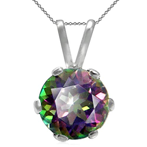 1.03ct. Mystic Fire Topaz Sterling Silver Solitaire Pendant w/ 18 Inch Chain Necklace