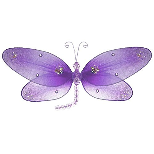 (The Butterfly Grove Taylor Dragonfly Decoration 3D Hanging Mesh Organza Nylon Decor, Purple Wisteria, Medium, 10