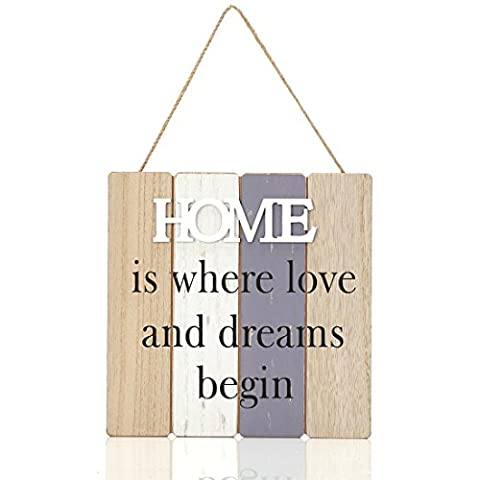 9.6x9.6 inches Wood Jute Rope Hanging Welcome Sign Plaque for Home Decor (HOME is Where Love and Dreams (New House Plaque)