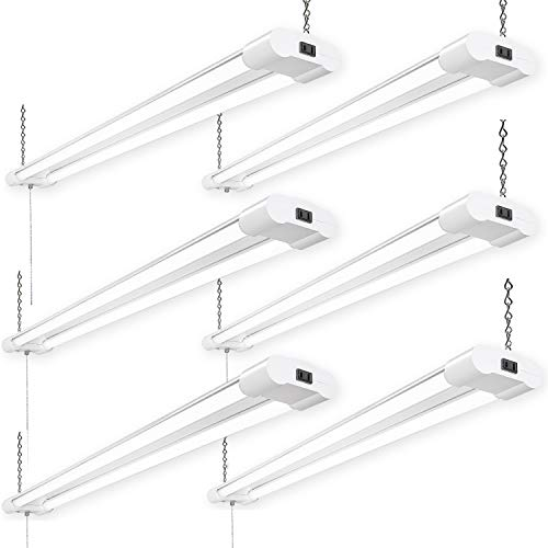 Amico 42W 6 Pack Linkable LED Utility Shop Lights, Double Integrated LED Fixture UL and Energy Star, 4000LM 5000K Daylight, 100W Fluorescent Eq. Hanging Light with Pull Chain Switch for Garage