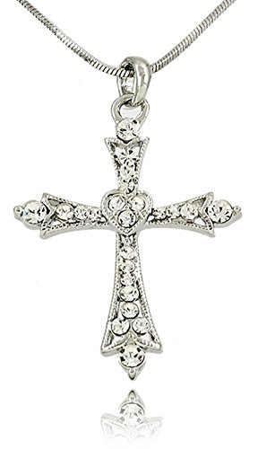 Filigree Cross (Beautiful Large Crystal Embellished Filigree Cross Heart Pendant Necklace for Girls, Teens and)