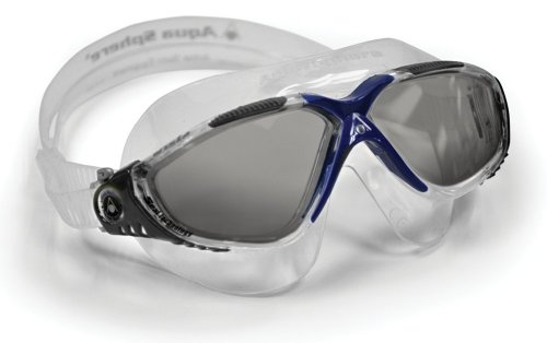 (Aqua Sphere Vista Swim Mask Goggles, Smoke Lens, Grey/Blue)