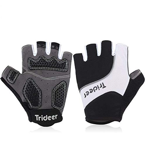 Trideer Padded Full Finger Cycling Gloves, Touch-Screen Mountain Road Gloves Anti-Slip, Bicycle Racing Gloves Biking Gloves (Black&White, L (Fits 7.6-8.1 inches))