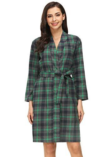 (Costyleen Women Short Spa Robes Plaid Homewear Pockets Kimono Lounge Bathrobe Green M)