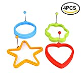 HUELE Silicone Egg Ring Cooker-Pancake Mold Breakfast Sandwiches Use, Set of 4 (flower,star,round,heart)