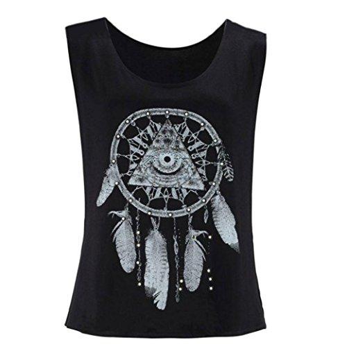 Blackobe Fashion Womens Summer Sleeveless Shirt Flower Printed Crew Neck Tops Crop Tank Vest (XL, Black)