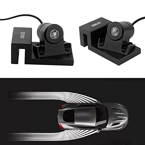 Hiapix 2PCS Car Door LED Shadow Lights Angel Wing Projector Welcome Lamps for BMW Audi Jeep Wrangler ()