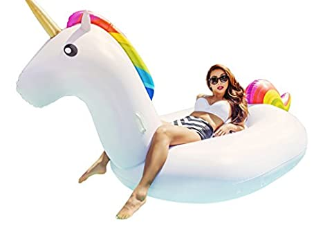 Giant Inflatable Unicorn Pool Float Swim Toy Floatie Raft by Captain Floaty (Over 8 Feet Long!) - Inflatable Jet Ski