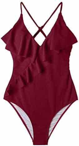 217c3ecfc13 CUPSHE Women's Happy Ending Solid One-Piece Swimsuit Beach Swimwear Bathing  Suit