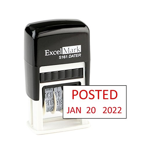 Posted - ExcelMark Self-Inking Rubber Date Stamp - Compact Size - Red Ink