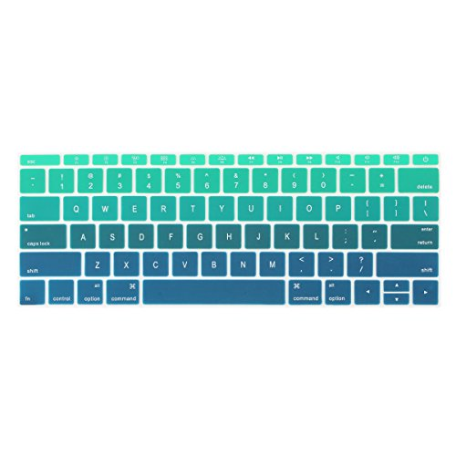 Batianda Ombre Color Keyboard Cover for New MacBook Pro 13 inch A1708 (No Touch Bar) 2017 & 2016 Release & MacBook 12 inch A1534 Silicone Protective Skin (Gradient Green)