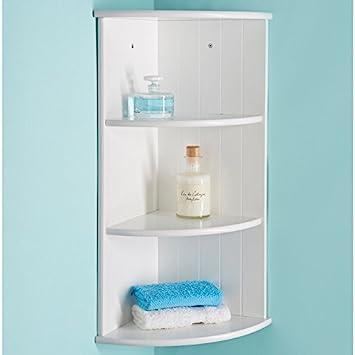 Wooden 3 Tier Wall Corner Shelf Storage Cabinet Unit Bathroom Shelving Amazon Co Uk Diy Tools